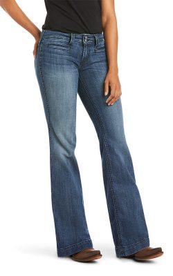 Trouser Mid Rise Stretch Wide Leg